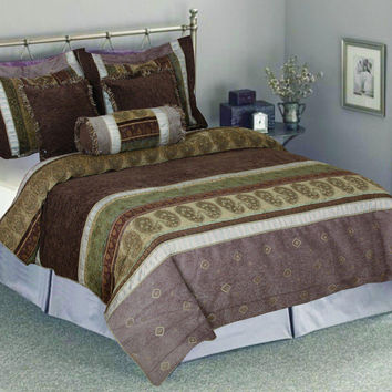 Tache 6 Piece Royal Luxurious Autumn Meadow South Asian Comforter Bedding Set