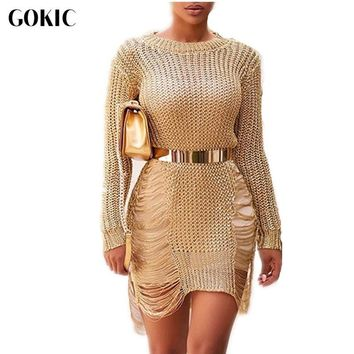 GOKIC 2017 Autumn Sexy crochet gold hollow out party sweater dress women casual pullover o-neck long sleeve short beach tunic