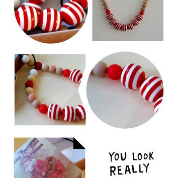 Eco friendly necklace , Red necklace , Chunky beads necklace , Red white striped necklace , Bubblegum necklace ,  Ball necklace ,  Gumball