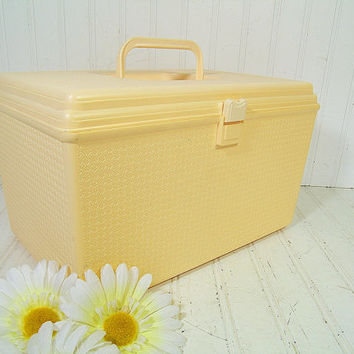Retro Soft Yellow Oversized Wilhold Wilson Sewing Box - Vintage Rectangular Plastic 2 Piece Carry All - Crafters Tote & Artisans Tool Chest