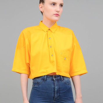 80s Polo Crop Top Yellow Oversize Cropped Shirt Loose 1980s Collared T Shirt Vintage Tee Small Medium S M
