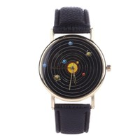 Fantastic Solar System Bracelet Watch for Men Leather