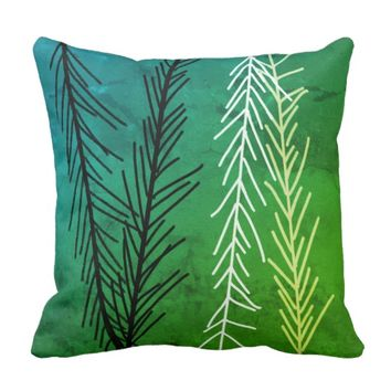 abstract original design pillow in blue and green