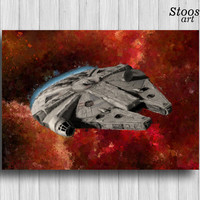 Milenium Falcon print han solo spaceship star wars art