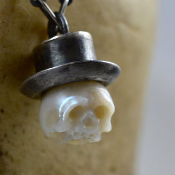 READY TO SHIP - Hand Carved Pearl Skull Wearing Oxidized Sterling Silver Top Hat - Pearl Necklace - Skull Pearl Pendant - Skull Jewerly
