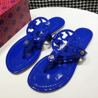 Tory Burch New fashion solid color leopard print slippers shoes sandals women Blue
