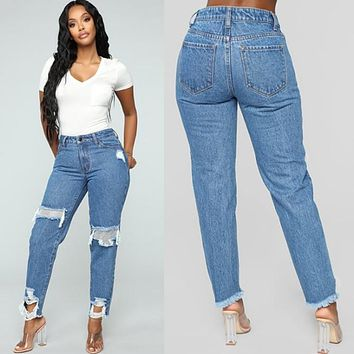 Women Casual Fashion Personality Worn Ripped Jeans Trousers