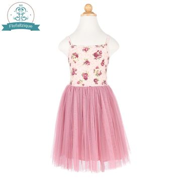 Flofallzique Toddler Girls Tulle Ball Gown Christmas Dress Summer Vintage Floral Party Princess kids dresses for girls clothes