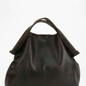 Jo Burnished Leather Tote Bag- Black One