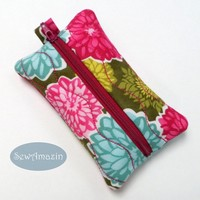 Dahlia and Aster Blossoms Pocket Tissue Holder, Travel Tissue Case