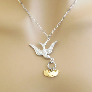 Mother and baby birds, Silver, Necklace, Mom, Silver, Bird, Children, Gold, Silver, Bird, Modern, Lovers, Family, Friends, Gift, Jewelry