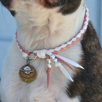 Custom Braided Leather Dog Necklace for Tags and Charms 10 Colors Pet Jewelry