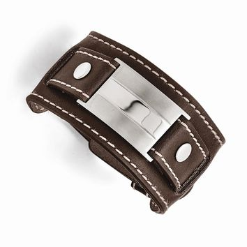 Stainless Steel Brown Leather Brushed/Polished Buckle Bracelet