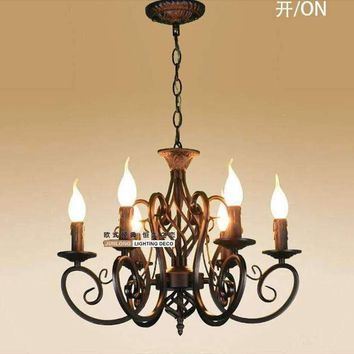 European Fashion Vintage Chandelier Ceiling lamp 6 Candle Lights Lighting Iron Black/White Lampshade Fixtures E14 Chandeliers