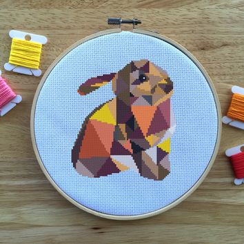 Modern Rabbit Cross Stitch Pattern - Geometric Animal