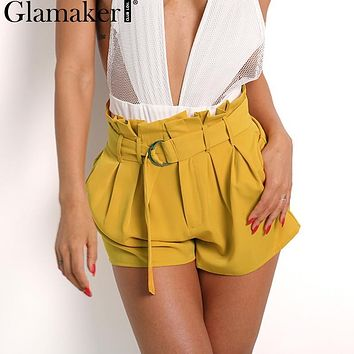 Glamaker Chiffon high waist shorts women Zipper wraped summer beach sexy shorts A-line night club fashion female culotte shorts
