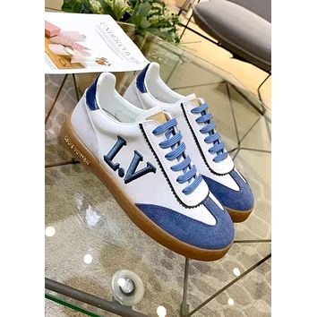 LV FRONTROW 2019 new female models wild casual color matching strap flat bottom shoes Blue