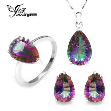 Wholesale Hot Women's Pear 4.5ct Genuine Gem Stone Rainbow Mystic Topaz Pendant Ring Earring Set Solid Pure 925 Sterling Silver