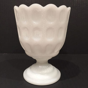 E O Brody Milk Glass Compote or Candy Bowl, Footed Milk Glass Vase, Vintage Planter, Rare E O Brody Milk Glass Vase