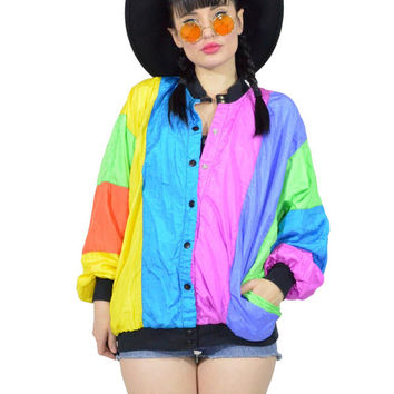 vintage 90s pastel windbreaker striped colorblock neon nylon jacket raver club kidd button up jacket coat slouchy batwing liquid jacket SM