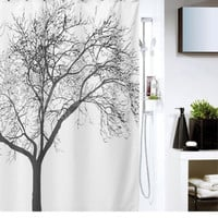 Waterproof Shower Curtain with Tree Design