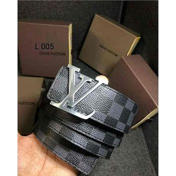 LV tide brand men and women casual wild canvas smooth buckle belt Black Check