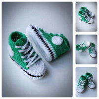 Green Crochet Baby Sneakers, Newborn Crochet Shoes, Infant Crochet Booties, Baby Boy Shoes, Boots for babies, Baby shower gift, choose size