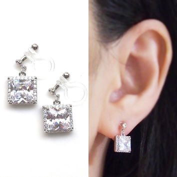 Square Cubic Zirconia Invisible Clip on Earrings, Comfortable CZ Wedding Clip on Earrings, Crystal Bridal Clip Earrings,Non Pierced Earrings