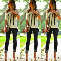 Love Cut-Off Blouse