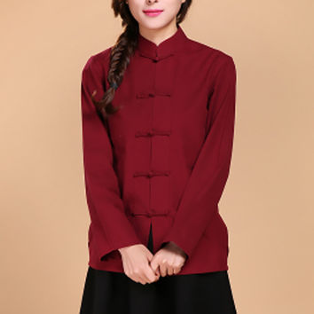 Women/Lady Frog Button Jacket Top Shirt Tang Traditional Chinese Mandarin Collar 047-4759