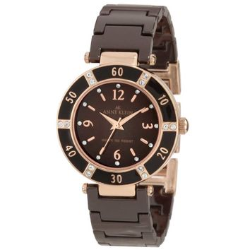 Anne Klein 10-9416RGBN Women's Swarovski Crystals Rose Gold Tone Brown Ceramic Watch