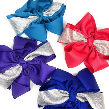 Girls Metallic Shimmer Cheer and Dance Hair Bow