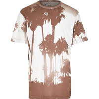River Island MensGrey Boxfresh photo palm tree print t-shirt