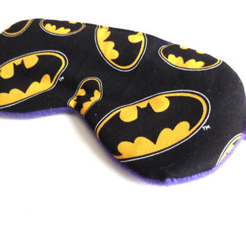 Batman Eye Mask - DC Comics Bat Man Sleep Mask - Purple Fleece Back - Woman Pre Teen Gift - Black Yellow Logo - Eyemask Eyeshade Sleepmask