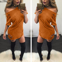 Fashion Suede Sheath dress 2016 Autumn Round Neck Short Sleeve Sexy  Women Mini Dress Elegant Loose Broken Hollow Out Dresses