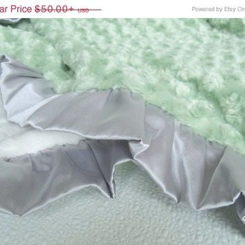 SAMPLE SALE Sage Green Gray and Cream Minky Baby Blanket