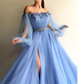Beautiful Muslim Evening Dresses A-line Long Sleeves Tulle Pearls Islamic Dubai Saudi Arabic Long Formal Evening Gown Prom