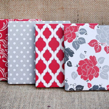 Set of 4 Coasters - Square - Ceramic - Elegant - Damask - Floral - Red - Grey - Black - White