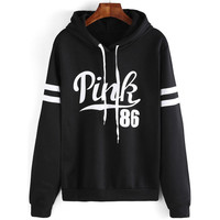 Black Drawstring Hooded Letters Print Long Sleeve Sweatshirt