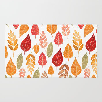 Painted Autumn Leaves Pattern Rug by Tanyadraws