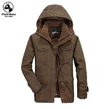 Winter Jacket Men Brand-Clothing Thick Outerwear Warm Parka Jackets Fur Lining Coats Windproof Casual Windbreaker Men LM-1382