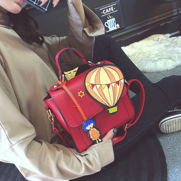 Cute hot air balloon cartoon printed fashion girl strap women's handbag shoulder bag female totes ladies crossbody messenger bag