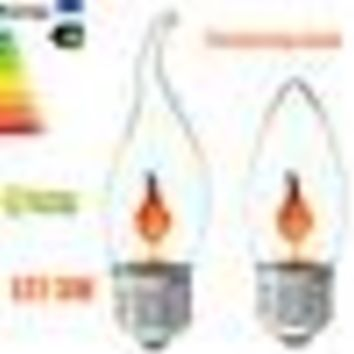 3W Vintage LED Light Bulb E27 Energy Saving Fire Flickering Flame Candle Tail Chandelier Flicker Light Bulbs Lamp Red AC220V