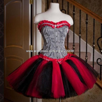 Red and Black Short Gothic Corset Dress Alternative Measures - Brides & Bridesmaids - Wedding, Bridal, Prom, Formal Gown