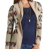 Geometric Print Open Front Cardigan by Charlotte Russe - Ivory Combo