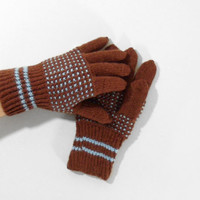 Hand Knitted Gloves - Brown, Size Medium