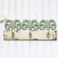 Wrought Iron Wall Hooks, Choose your Color, Metal and Wood Wall Hooks, Wall Hooks, Unique Wall Hooks, Shabby Chic, Cottage Decor, Coat Hook