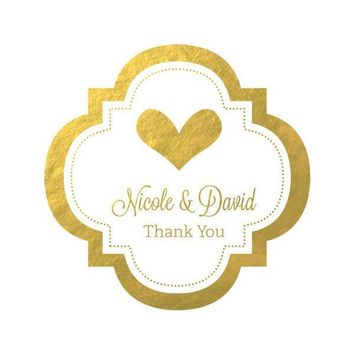 "Personalized Metallic Foil 1.5"" Mini Favor Labels - Wedding (Set of 24)"