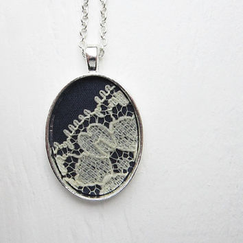 Navy Necklace, Navy Blue Wedding Necklace, Navy Blue Jewelry Bridesmaid Lace Necklace, White Flower, Silver Pendant