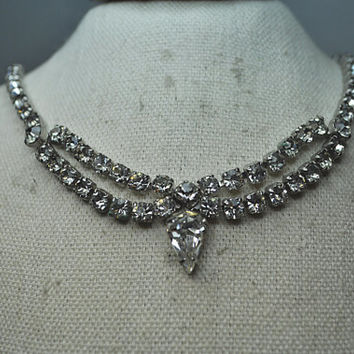WEISS Vintage Silver, Prong-Set, Clear Rhinestone, Swag Drop Choker Necklace, Great for Bride! #A602
